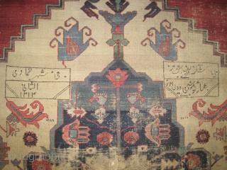 "Bakshaish Heriz Persian dated 1313 = 1895, antique. Collectors item, Size: 385 x 281 (cm) 12' 7"" x 9' 3""  carpet ID: P-3302 Historical carpet, the ivory and the indigo center medallion  ..."