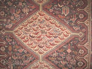 "Shiraz Khamse Persian, circa 1890 antique. Collector's item. Size: 237 x 162 (cm) 7' 9"" x 5' 4""  carpet ID: K-804 Vegetable dyes, the knots are hand spun lamb wool, the black  ..."