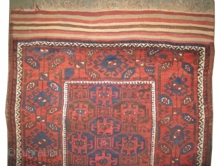 """Belutch Persian circa 1900 antique. Collector's item. Size: 129 x 90 (cm) 4' 3"""" x 2' 11""""  carpet ID: E-453 Vegetable dyes, rare example, the black color is oxidized, the warp and  ..."""