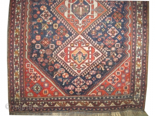 """Qashqai Persian circa 1915 antique. Collector's item. Size: 200 x 140 (cm) 6' 7"""" x 4' 7""""  carpet ID: K-3258 Vegetable dyes, the black color is oxidized, the warp and the weft  ..."""