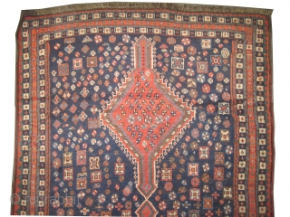 """Shiraz Persian circa 1905 antique. Collector's item. Size: 247 x 130 (cm) 8' 1"""" x 4' 3""""   carpet ID: K-453 Vegetable dyes, the black color is oxidized, the knots are hand spun  ..."""