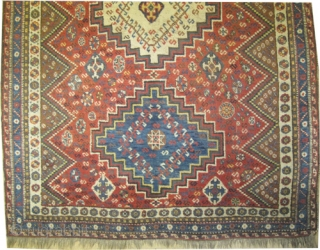 """Qashqai Persian circa 1912 antique, collector's item, Size: 237 x 158 (cm) 7' 9"""" x 5' 2""""  carpet ID: K-2944 vegetable dyes, the knots are hand spun wool, the black color  ..."""