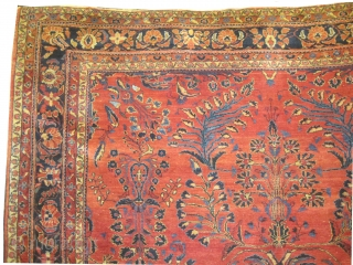 """Lilihan Persian knotted circa in 1920 antique. Size: 347 x 302 (cm) 11' 5"""" x 9' 11""""  carpet ID: P-3612 The background color is rust, the surrounding large border is indigo, hand  ..."""
