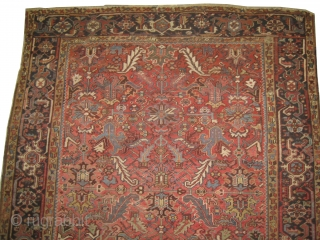 Heriz Persian circa 1925, semi antique, size: 230 x 300 cm,  carpet ID: ROB-1 Vegetable dyes, the knots are hand spun wool, all over design, minor places the pile is slightly used.