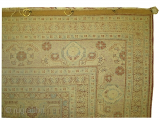 Prayer silk rug, knotted circa in 1910, antique, the pile is uniformly short, 560'000 knots in square meter. 
