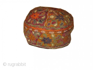 Turkmen Uzbek antique 7 hats, one for each day, embroidered and in perfect condition.