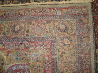 """Tabriz Persian circa 1920 antique, Size: 315 x 225 (cm) 10' 4"""" x 7' 5""""  carpet ID: P-4743  the black color is oxidized, the knots are hand spun wool, the background  ..."""