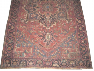 """Heriz Serapi Persian circa 1905 antique. Collector's item, Size: 340 x 217 (cm) 11' 2"""" x 7' 1""""  carpet ID: P-5207 The knots are hand spun wool, vegetable dyes, the black color  ..."""