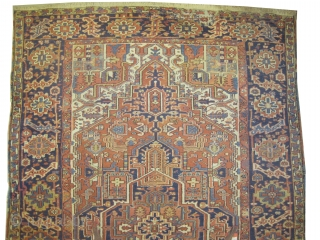 """Heriz Persian circa 1910 antique.  Size: 342 x 222 (cm) 11' 3"""" x 7' 3""""  carpet ID: P-6124 Vegetable dyes, the black color is oxidized, the knots are hand spun wool,  ..."""