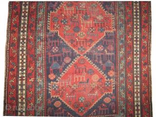 "Chikli-Kazak Caucasian circa 1909 antique. Collector's item, Size: 240 x 140 (cm) 7' 10"" x 4' 7""  carpet ID: V-139 vegetable dyes, the black color is oxidized, the knots are hand spun  ..."