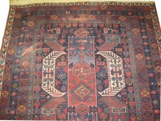 """Goradis Kazak Caucasian, dated 1312 = 1894 antique, collectors item. 580 x 250 (cm) 19'  x 8' 2""""  carpet ID: P-6192  The black color is oxidized, the knots are hand spun  ..."""