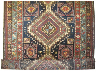 """Shirvan Caucasian knotted circa in 1905 antique. Collector's item, 456 x 153 (cm) 14' 11"""" x 5'  carpet ID: W-2 Thick pile, in good condition, the knots are hand spun wool, both  ..."""