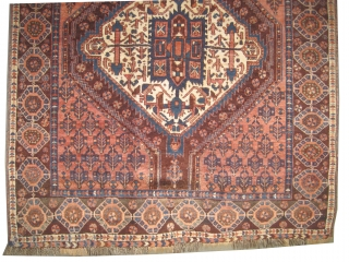 """Afshar Persian circa 1920 antique. Collector's item, Size: 139 x 128 (cm) 4' 7"""" x 4' 2""""   carept ID: K-599 Vegetable dyes, the brown color is oxidized, the knots are hand  ..."""