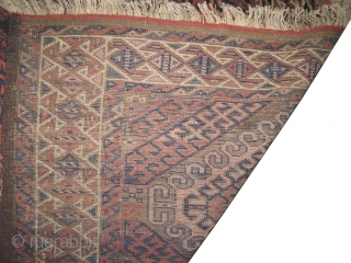 """Belutch Persian circa 1905 antique. Collector's item. Size: 163 x 95 (cm) 5' 4"""" x 3' 1""""  carpet ID: M-382 Vegetable dyes, the black color is oxidized, the warp and the  ..."""