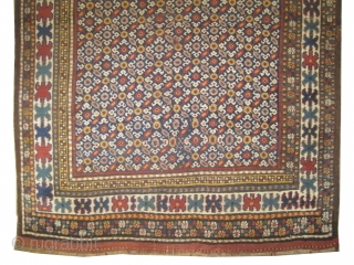 """Gutschan Kurd Persian knotted circa in 1910 antique, collector's item. 270 x 140 (cm) 8' 10"""" x 4' 7""""  carpet ID: K-4370 In good condition except circa 30 x 25cm the  ..."""