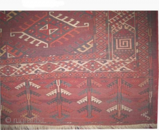 """Yemouth Turkmen Dyrnak design  antique. Size: 370 x 216 (cm) 12' 2"""" x 7' 1""""   carpet ID: P-5073 Vegetable dyes, the black color is oxidized, the warp and the weft threads  ..."""