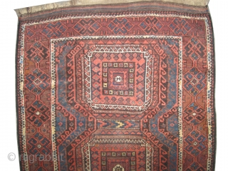 """Belutch Persian circa 1905 antique, collector's item,Size: 178 x 94 (cm) 5' 10"""" x 3' 1""""  carpet ID: E-356 Vegetable dyes, the black color is oxidized, the knots are hand spun  ..."""