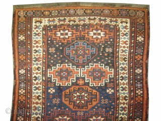 """Kurd Persian circa 1910 antique. Collector's item, Size: 216 x 134 (cm) 7' 1"""" x 4' 5""""   carpet ID: K-4971 Vegetable dyes, the black color is oxidized, the warp and the weft  ..."""