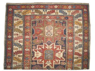 "Lezgi Caucasian circa 1910 antique. Size: 141 x 121 (cm) 4' 7"" x 4' 