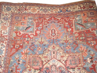 "Serapi Heriz Persian knotted circa in 1895 antique, 375 x 307 (cm) 12' 4"" x 10' 1""  carpet ID: P-1387
