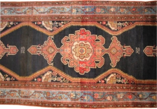 """Malaier Persian signed and dated, antique. Size: 840 x 159 (cm) 27' 6"""" x 5' 3""""  carpet ID: P-6110 The black color is oxidized, the knots are hand spun lamb wool,  ..."""