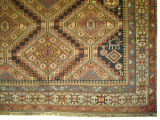 """Shirvan Caucasian knotted circa in 1915 antique. . 341 x 172 (cm) 11' 2"""" x 5' 8""""  carpet ID: V-28  In perfect condition, high pile, the black color is oxidized, the  ..."""