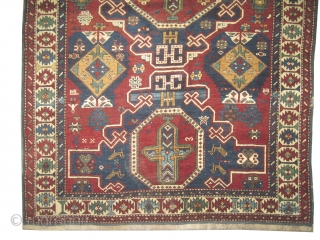 """Konakent Kouba Caucasian, knotted circa in 1915 antique, collector's item. 260 x 140 (cm) 8' 6"""" x 4' 7""""  carpet ID: RS-234 Both edges are finished with 2cm Soumak technique kilim, the  ..."""