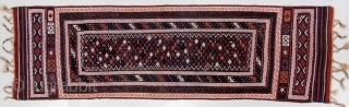 Hard to find superior example of Baktiari interlocking weft flatwoven long rug, end 19c. Very good original condition with no wear or repairs and great natural dyes. Very sturdy due to weaving  ...