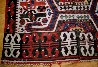 Hotamish Central Anatolian kilim, c 1850-75, lovely natural Cappadocian colors, 3-4 very small weft breaks, very good center match, no repairs,approx 5 x 12 feet, not the earliest finest 18c weave, but  ...