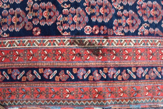 """Afshar Neriz Main Rug 4'9"""" x 9'6"""". Third to fourth quarter Nineteenth Century. There is a sewn tear on one kilim end. There is one fold wear. There is one old stain.  ..."""