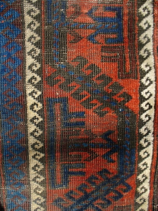 """Good piece in OK condition. 58"""" X 33"""". Selvages are perfect w/ some kilim at ends. Electric blue.  Any questions? Please ask."""