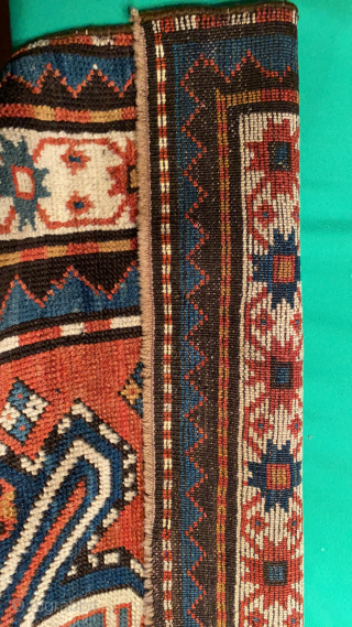 """Antique Caucasian Long Rug in bold and colorful design. Full pile. Natural dyes including blue-green and gold. 4'3"""" X 8'6""""  $1500"""