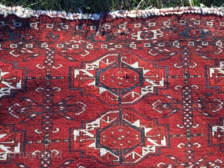 SOLD! Tekke 6 gul torba of significant age and quality! Intense detail in the main guls which are of good size. Condition leaves much to be desired! The pice is very low-pile,  ...