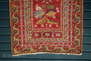 Early Anatolian prayer rug with brilliant colors and in reasonable condition for the age . Circa early to mid 19th century. Probably Kirsehir, but with Gördes elements.