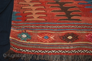 Beautiful small Anatolian Afyon kilim, late 19th C, 40 x 51 inches/ 100 x 127cm, natural dyes, a few old restorations otherwise in good condition, wild and tribal.
