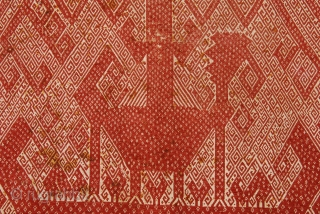 Very good and interesting tampan-ceremonial textile- from Indonesia (Lampung-Sumatra),  19th century, size 68 x 76 cm/ 27 x 31 inches.  A boat with a large bird and tree of life  ...
