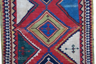 Stunning 19th century Qashqai kilim. This type is hard to find in this graphic quality. Size 155 x 260 cm/ 62 x 104 inches. All natural saturated colors. Overall good condition with  ...