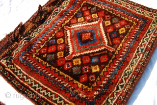 Pair of Qashqai/Luri bags with bold design, glossy wool and great colors. Ca late 19thC/1900. Size each 52 x 62cm/ 21 x 25 inches. Good condition with even long pile, a few  ...