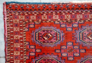 Super fine Tekke chuval with the six Salor guls design. Mid 19th century. Very fine knots. Very thin, floppy handle with dense closed pile like velvet, mostly allover, low near the centre.  ...