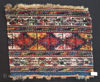 "Shahsavan Sumak Mafrash End Panel, 19th century, extremely colorful, including very nice and clear Ararat Kermes (pinkish ""cochineal"") with glowing colors, shiny wool and fine weave. A beautiful quality piece!"