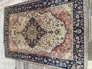Antique Kashan Mohtasham rug 4.6x6.6