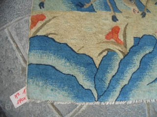 Measures: 170x87 cm Antique Chinese carpet  ABOUT 100 years old for this one. In very-very good condition, full pile, and any stains, holes, repils, restors. Like a new piece.   This piece has been knotted in the  ...