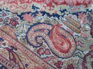 Antico SARUK=antique sarough in very good condition. Washed and ready for the domestic use. Full pile, any problem for this one. Big size, palace carpet 444 x 301 cm.