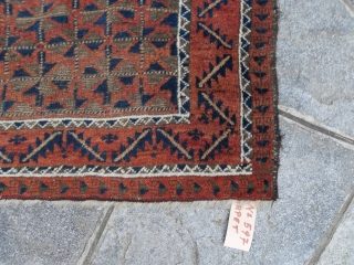138 x 93 cm for this Belouch afghan wool on wool. Carpet with all the natural dyes. Antique piece with a beautiful design.  MORE Info, photos and query on request. Warm regards from lake of  ...