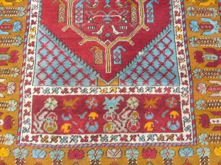 5.31 by 3.32 ft. size of this antique KIRSHIR. Very, very good condition. This central-anatolian carpet is ALL original. Warm and weft are wool. Great colors and shiny wool. Natural dyes. Beautiful prayer carpet. More  ...