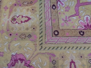 Pretty antique palace carpet knotted around 1900 in the region of Agra (India). The piece is in very good condition. Washed and ready for domestic use. Size is   cm.  464  x   ...