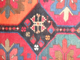 """One of my collectors' friend has named this Kazakh """"carpet LUNA-PARK"""". Yes, it is so and it is okay! Kazakh knotted by Armenian people in the Caucasus region near the Karabagh. Fine knot and  ..."""