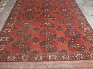 Antique Turkmen tribe knotted with a very fine knot. Good condition and washed for this main carpet . This carpet has the 2 kelims ends original and his original selvedges.   309 x 218  ...