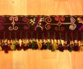 """Multi colored antique Uzbek tassel Size: 75 cm X 16 cm  100% handmade  VINTAGE UZBEK TASSELS : """"Segusha""""( Triangle) is a decorative embellishments, whose function, was to decorate the beddings tucked away folded against the walls  ..."""