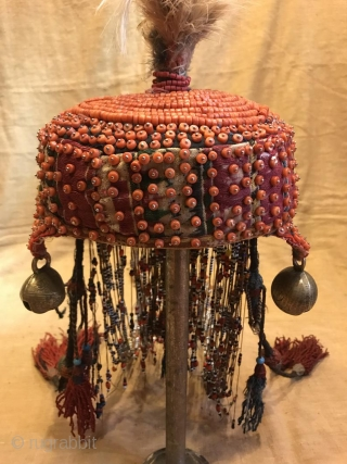 uzbek handmade coral hat, ethnic tribal unique hat, boho hippie hat, decorative hat